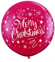 3ft Giant Balloons -  Merry Christmas 3ft Balloon 1pc